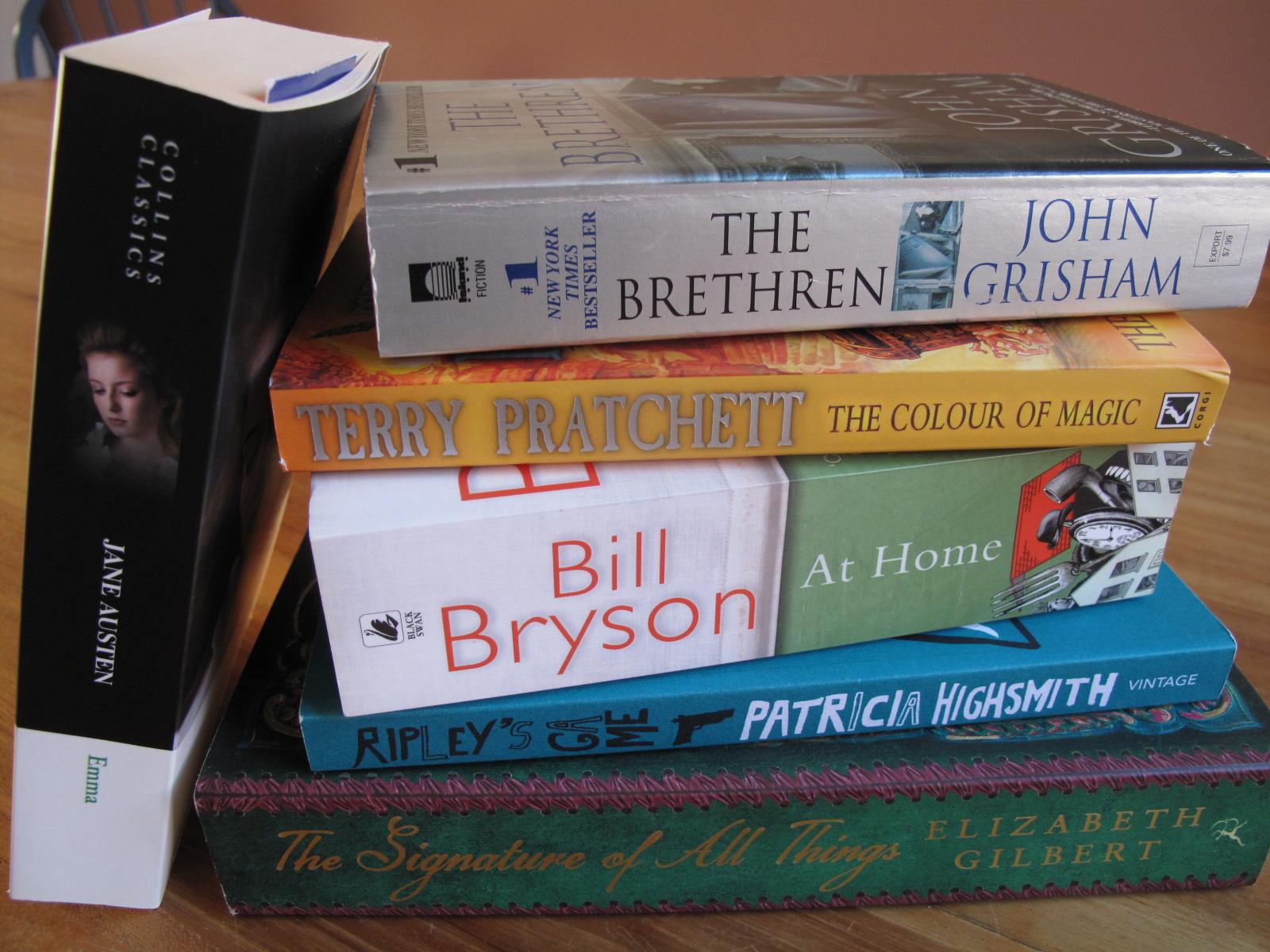 Boeken lezen, Bill Bryson, John Grisham, Mr Ripley, Jane Austen