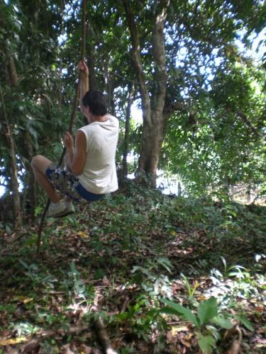 Demian slingeren aan liaan Suriname