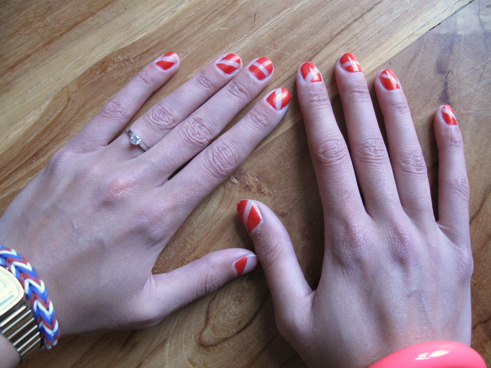Oranje nagel kunst