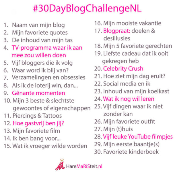 30 day blog challenge NL